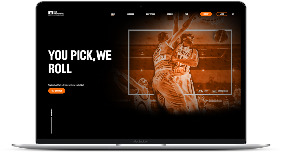 Sports streaming platform on desktop